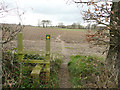SE2906 : Footpath across a ploughed field, Cawthorne by Humphrey Bolton