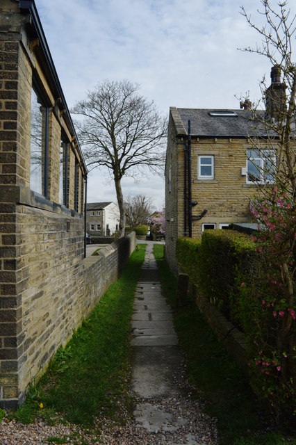Footpath running along the side of the old Congregational Church, Norwood Green