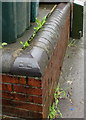ST2987 : Late Victorian brick in a Risca Road wall, Newport by Jaggery