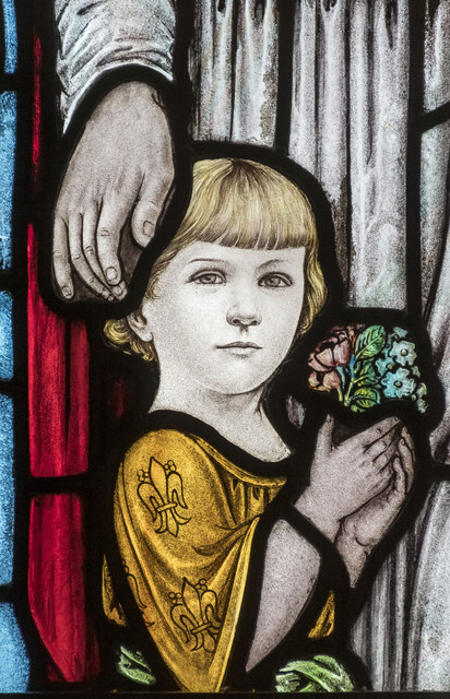 Stained glass window detail, Quarrington church