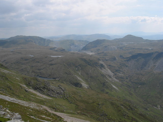 View East from the summit ridge of Y Cnicht