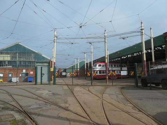 Tramlines fanning out at the entrance to Rigby Road depot