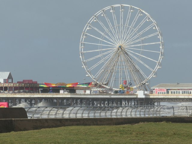 Stormy sea under the Big Wheel, Blackpool Central Pier