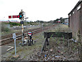 NY9464 : Hexham station: signal for the siding by Stephen Craven