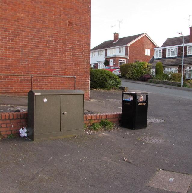 Cabinet and bin, Larch Grove, Malpas, Newport