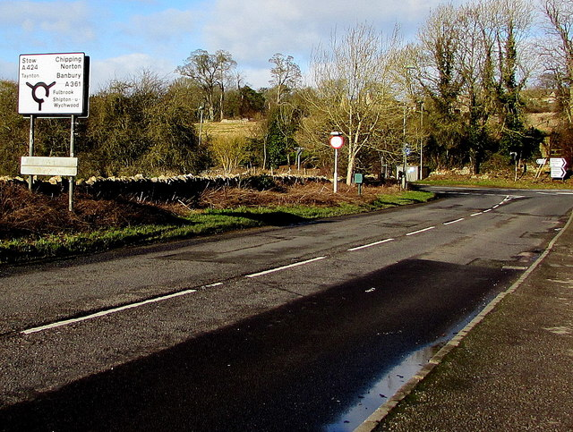 Directions sign alongside the A361, Burford