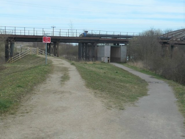 Two paths under Castleford viaduct