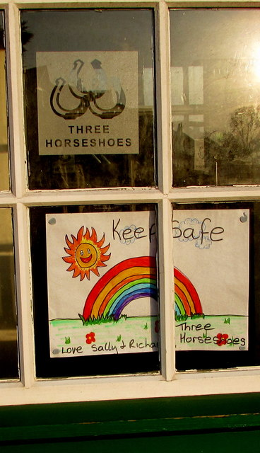 Keep Safe notice, Three Horseshoes pub, Malpas, Newport