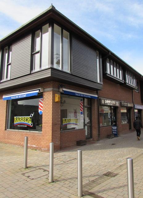 Barber shop on a town centre corner, Caldicot