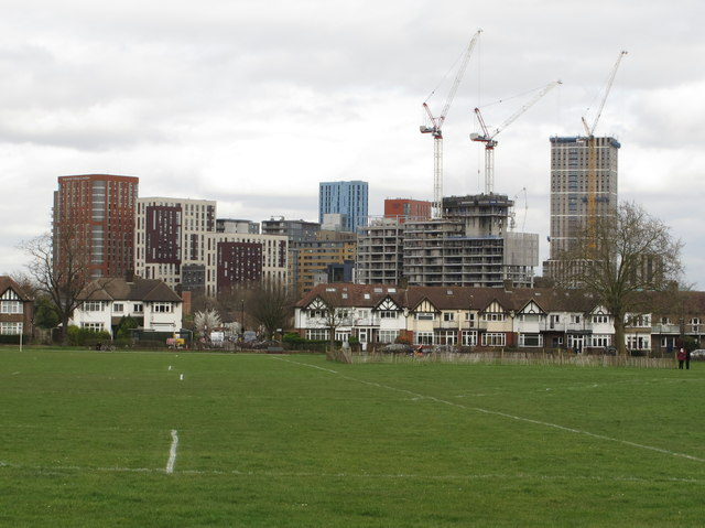 Eastfields Road and tower blocks from playing field