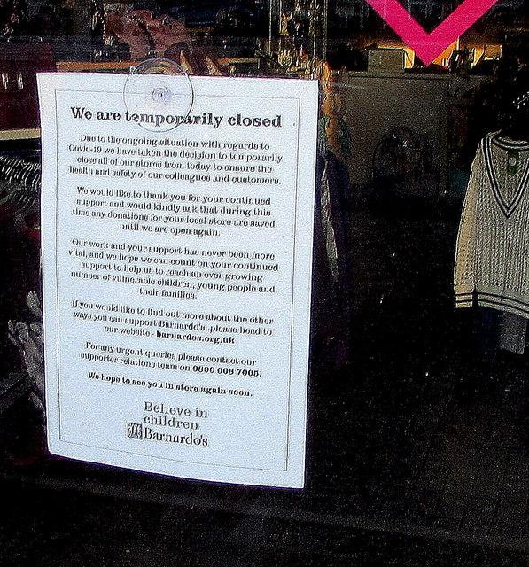 We are temporarily closed, Barnardo's, Malpas Road, Newport