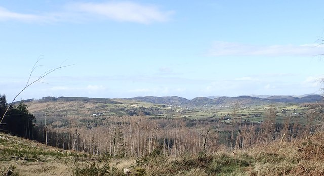 Hills of the Newry Igneous Complex viewed across the drumlin belt from Curraghard
