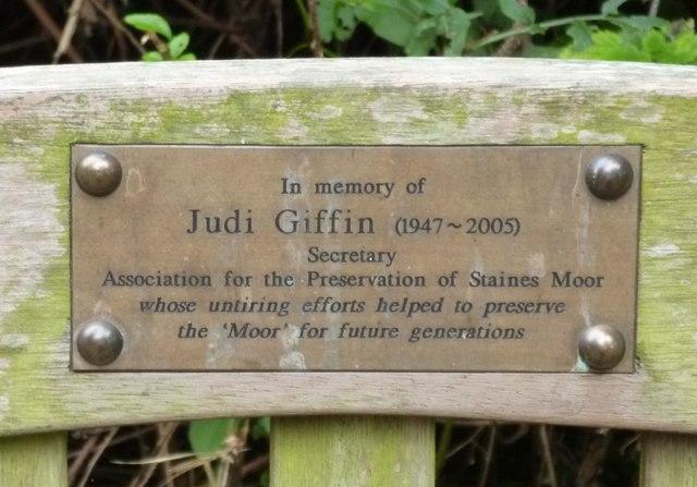 Plaque on Judi Giffin Memorial Bench