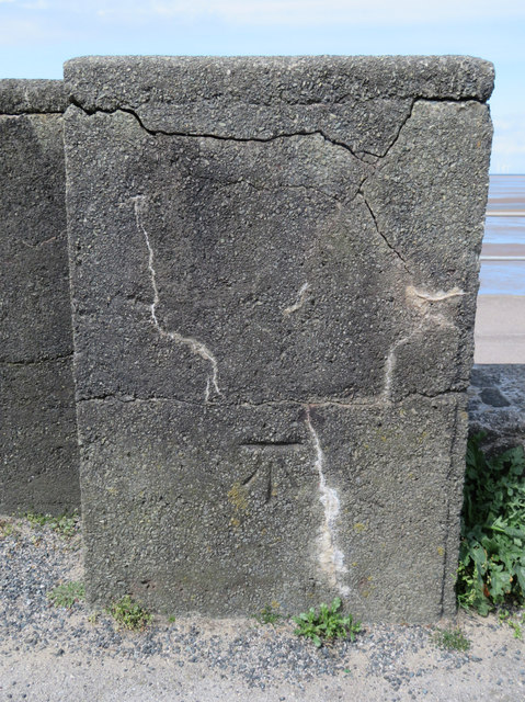 Bench mark at the end of Meols promenade wall