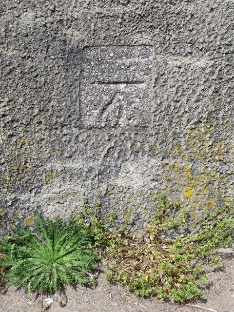 Bench mark on the promenade wall, Meols Parade