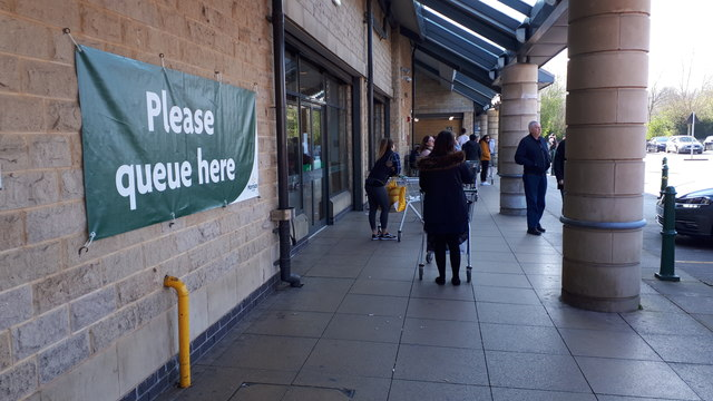 Queuing at Morrisons, Kirkstall, during... © Rich Tea :: Geograph ...