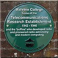SO7745 : Green plaque at Malvern College by Philip Halling