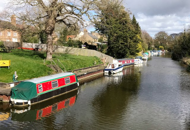 Boats moored on The River Nene (old course) in March, Cambridgeshire