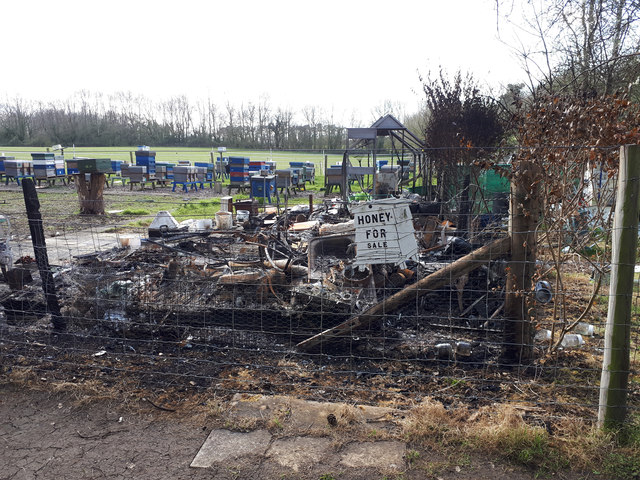 Vandalised beekeeper's hut, Stanton Park