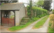 SX4563 : Lych gate and mounting block, Bere Ferrers by Derek Harper