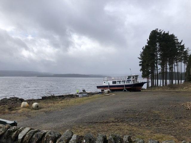 Kielder Water ferry waiting for Summer