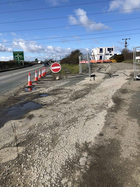 Contractor's compound in closed layby for the rebuilding of Cathill roundabout