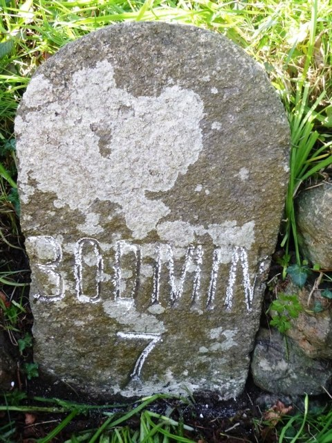 Old Milestone by Redvale Road, St Tudy