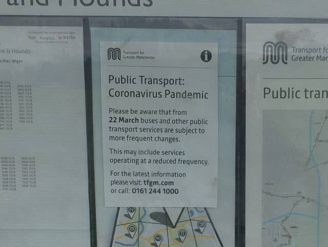 Public Transport Notice re Coronavirus at Bus Stop