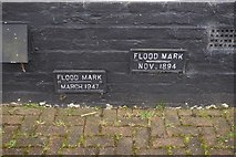 TQ0172 : Flood marks at Bell Weir Lock on the River Thames by Ian S