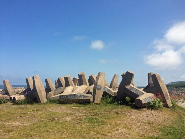 Coastal defence blocks from the National Cycle Route