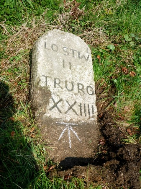 Old Milestone by the A390, south of Little Fairy Cross