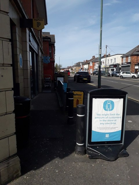 Ensbury Park: social distancing notice outside the Co-Op