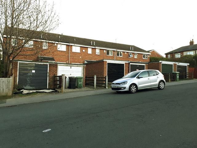 Lock-up garages, Aston Mount, Bramley