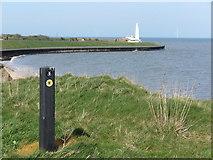 NZ3474 : England Coast Path Signage, Whitley Bay by Geoff Holland
