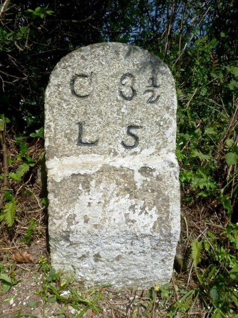 Old Milestone by the A390 in Higher Keason