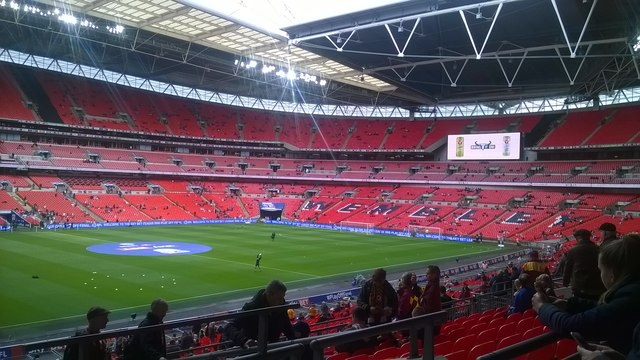 Wembley stadium, filling up before a game