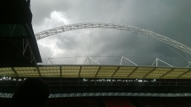 Wembley Stadium: the arch from within the ground