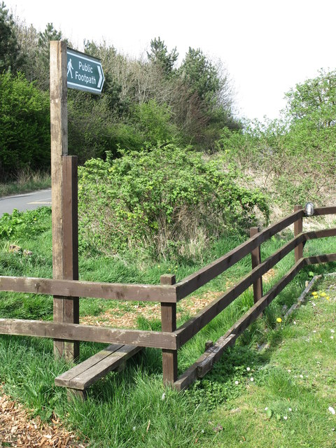 Public Footpath Sign and Stile near the Beehive Inn, Whitley Bay