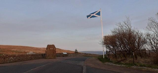 Saltire at the Scottish border at Carter Bar