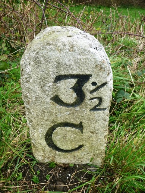 Old Milestone by the A388, St Mellion