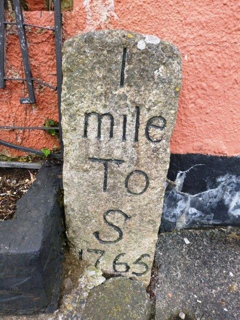 Old Milestone by the former A38, Liskeard Road in Saltash
