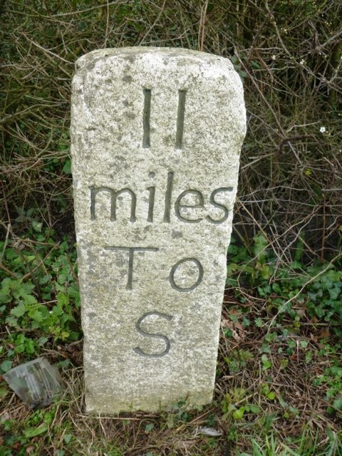 Old Milestone by the A388, Carkeel