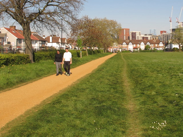 Social distancing wears new path in grass, North Acton