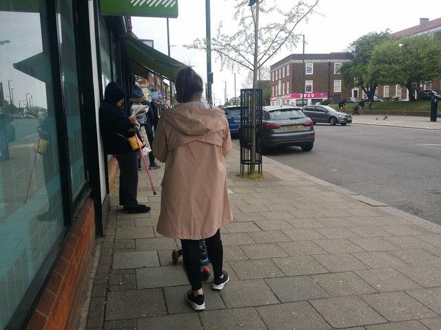 Queuing outside Waitrose for coronavirus rules