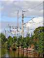 SJ9528 : Canal and railway near Salt in Staffordshire by Roger  Kidd