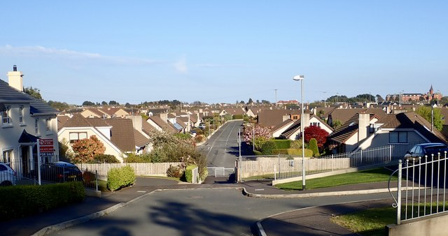 The view eastwards across the town of Newcastle from Ashleigh Heights