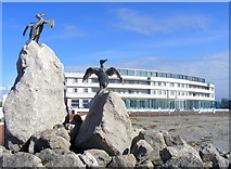 SD4264 : Cormorant sculptures, Morecambe by Alex Passmore