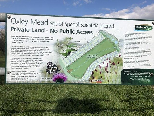 Information board on the Oxley Mead floodplain meadow