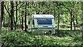 TQ1518 : Caravan in Round Wood by Ian Cunliffe