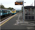 SO4383 : Llanelli train arriving at Craven Arms station platform 2 by Jaggery